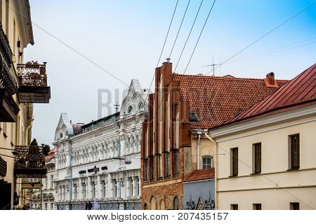 antique building view in Old Town Vilnius, Lithuanian