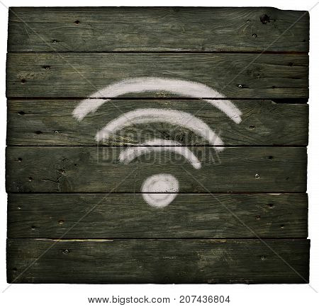 painted wifi symbol on old wooden planks