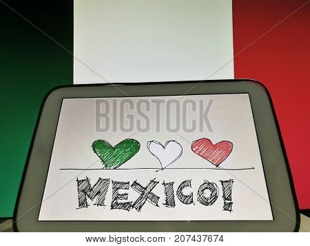 Heart color of Mexico flag. Pray for Mexico, 2017 earthquake. encouragement and well wishing concept.