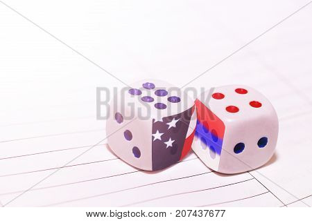 two white dices America and Russia object