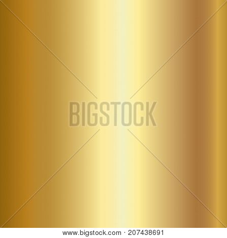 Gold foil texture background. Realistic golden vector metal gradient template for gold border, frame, ribbon design.