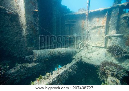 Shipwreck Exploration, Underwater Photo, Blue Backgrond, Horizontal Image