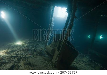 In The Shipwreck, Underwater Photo, Blue Backgrond, Horizontal Image