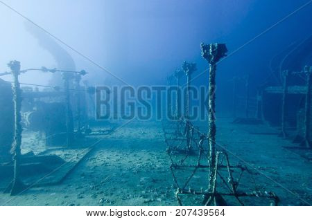 Shipwreck Deck, Underwater Photo, Blue Backgrond, Horizontal