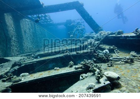 Shipwreck Diving, Underwater Photo, Blue Backgrond, Horizontal