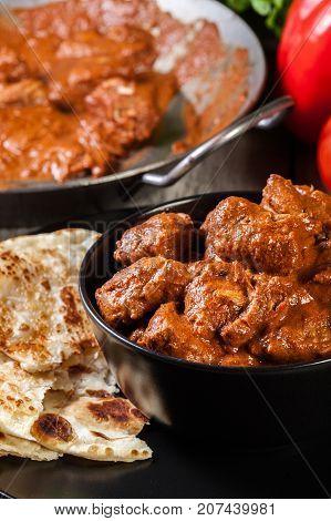 Chicken Tikka Masala Served With Bread Naan