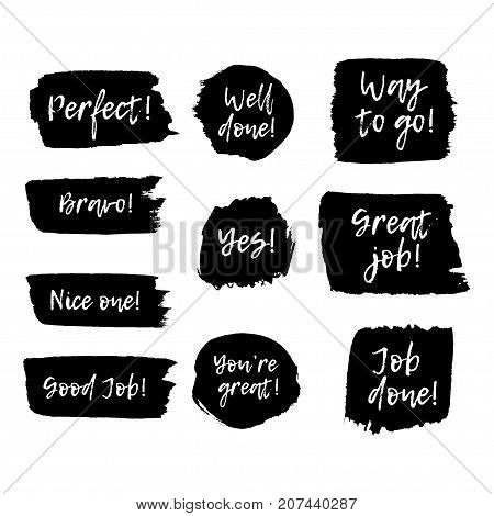 Phrases of motivation on ink drawn background. Sing for congratulation.