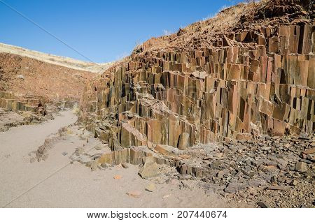 The famous Organ Pipes rock formations in Damaraland, Namibia, Southern Africa.