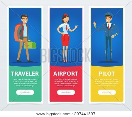 Flat people in airport banners set. Illustration of traveler, stewardess, pilot captain. Cartoon design characters isolated on blue. Business air travel concept. Good for website, mobile app, poster.