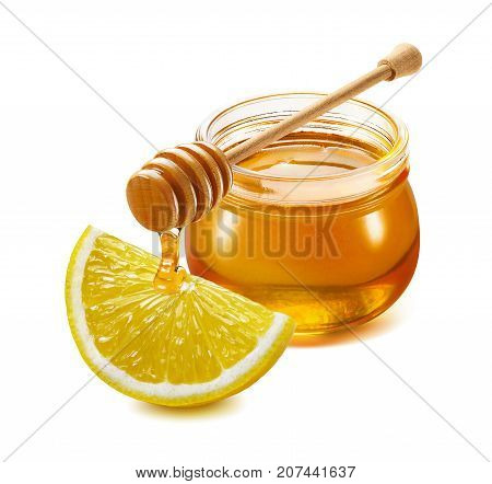 Traditional remedy for flu and cold treatment - honey drink with lemon isolated on white background