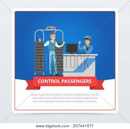Control passengers at the airport. Man on security check point. Passenger walking through metal detector. Vector flat design illustrations banner isolated on blue background. Business travel concept.