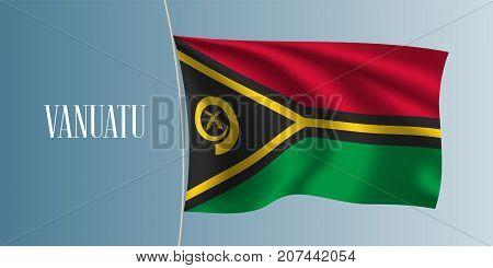 Vanuatu waving flag vector illustration. Red green yellow as a national symbol of Vanuatu