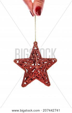 Red Christmas Tree Decor In Form Of Star With Sparkles