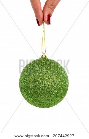 Christmas Tree Decorative Toy Green Bubble Ball With Sparkles
