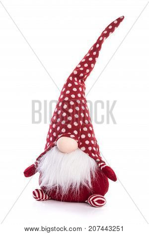 Scandinavian Gnome In Red Hat Decorative Christmas Toy Isolated On White Background