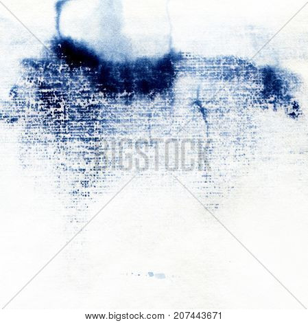 Watercolor background of indigo and white color . Hand-drawn illustration.