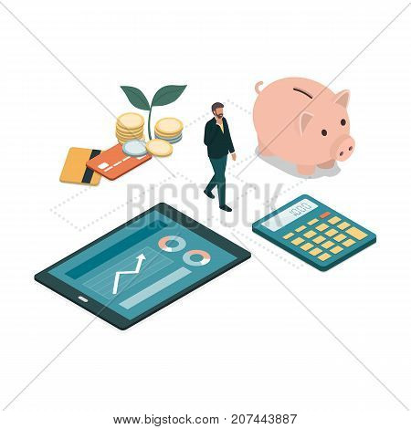 Businessman choosing the right solution for his investments and savings: financial planning and deposits concept