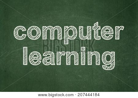 Learning concept: text Computer Learning on Green chalkboard background