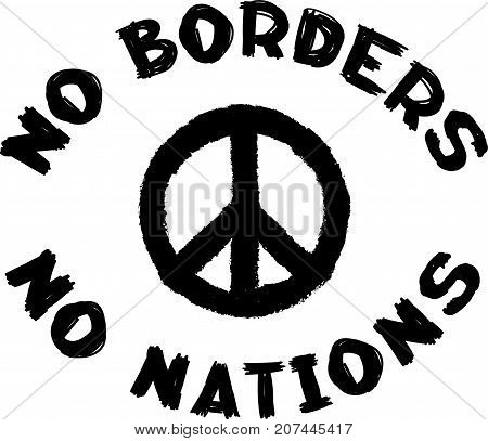 No borders no nations sign and pacific symbol. Conceptual social black and white stamp.