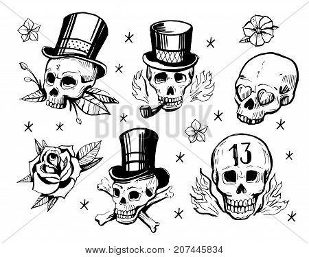 Set of skulls. Old school tattoo style. Hand drawn illustration