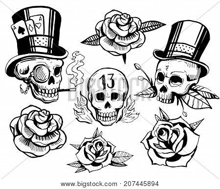 Set of skulls and roses. Old school tattoo style. Hand drawn illustration