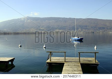 Annecy Lake, Quiet View With Sailboat, Savoy, France
