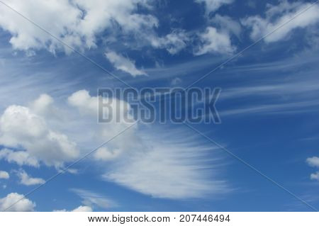 Blue sky with cumulus and cirrus fkuffy clouds