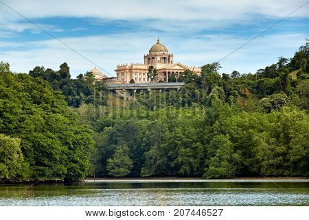 Bandar Seri BegawanBrunei Darussalam-MARCH 312017: The new palace of sultan of Brunei. View from river