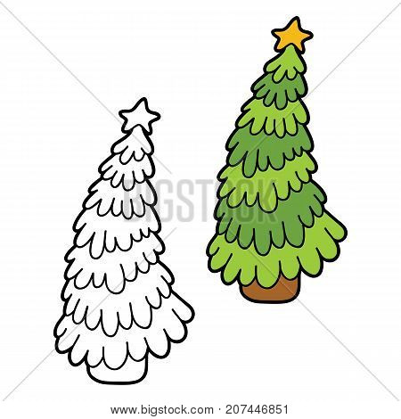 Vector illustration coloring page of cartoon  christmas tree for children, coloring and scrap book