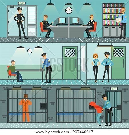 Police department set, policemen at work, investigating crimes, identifying and arresting criminals, office interior horizontal vector Illustrations