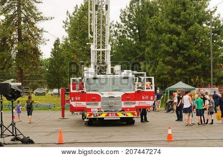 Mead, WA - June 3, 2017: Fire station 92 Wellness day demonstrations