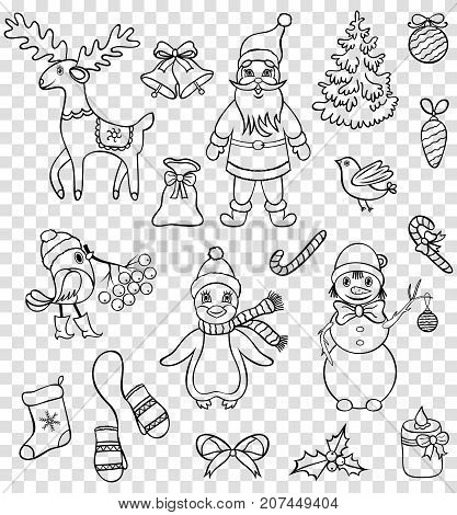 Set of christmas characters on transparent backgrounds. Vector illustration.Temporary tattoo for kids.Vector illustration.
