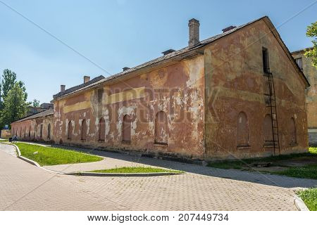 Desolate building in complex of 19th century military fortress in Daugavpils Latvia