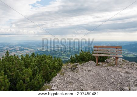 relaxing bench on the top of mount traunstein in Austria