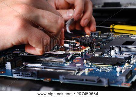 Computer Literacy Repair Men Hands, Man Examines Laptop Clean Thermal Paste