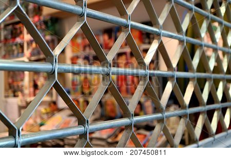 Closed up Stainless Steel Roller Shutter Door in Perspective View with Selective Focus