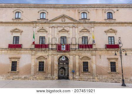 Archbishop's Palace on Cathedral Square on the old part of Syracuse - Ortygia isle Sicily Italy