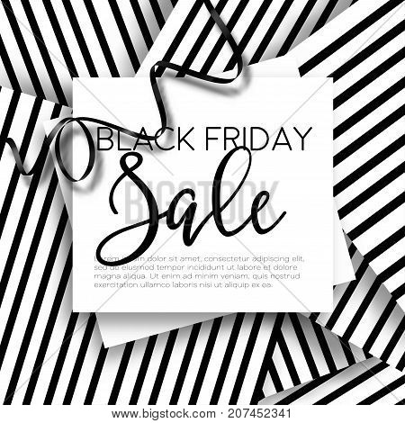 Black Friday sale discount promo offer poster or advertising flyer and coupon. Vector elegant design of piece of paper and realistic black gift bow tie ribbon for premium fashion shop sale on striped black background.