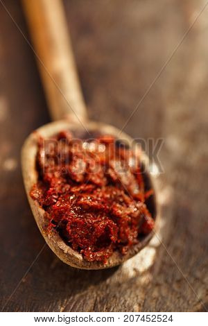 Traditional home-made  ajika - red hot chilles paste