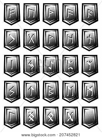 set of vector character from runic alphabet on stones.