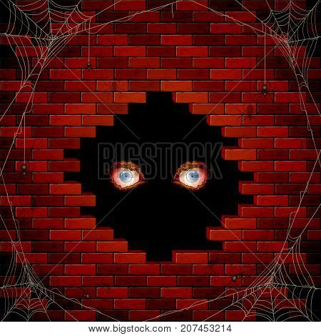 Halloween background with evil eyes in the hole of the brick wall and black spiders on the spiderweb, illustration.