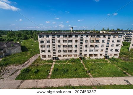 Blocks of flats in abandoned former Soviet military town Skrunda in Latvia