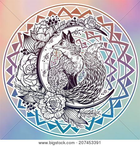 Fox on night floral crescent moon in vinatge style. Dreamy magic cute art. Night, nature, wicca, symbol. Isolated vector illustration. Great outdoors, tattoo and t-shirt design. North animal.