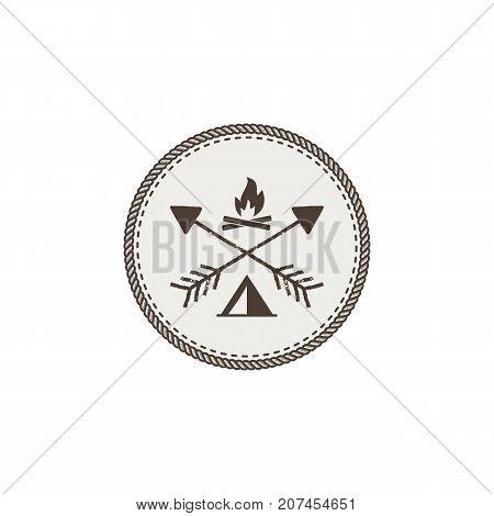 Outdoor activity patch. Adventure icon with bonfire and tent. Stock vector illustration isolated on white background.