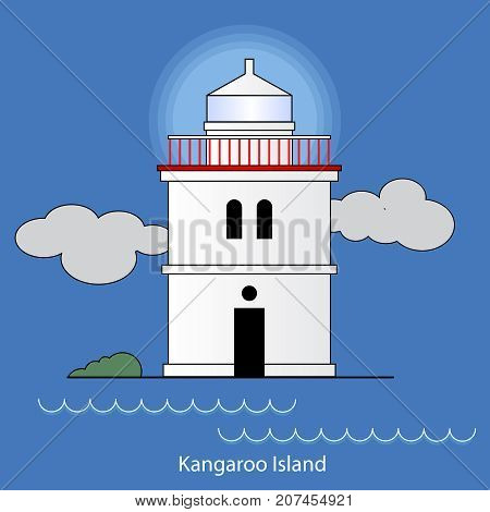 Vector illustration of Borda Lighthouse Kangaroo island Asutralia