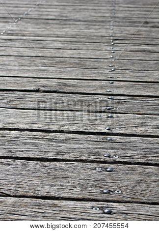 Quay Wooden floor in Sydney Australia. Old wood texture