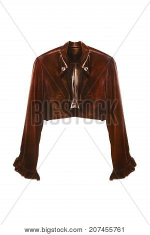 Brown velvet short jacket with long sleeves isolated over white