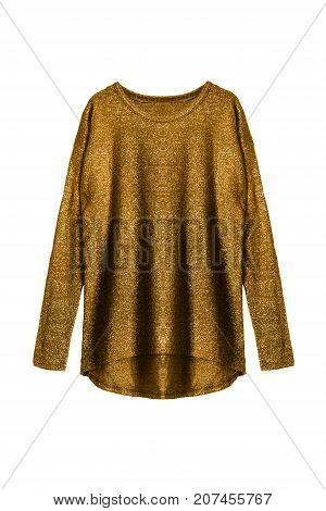 Golden shiny oversized sweatshirt on white background