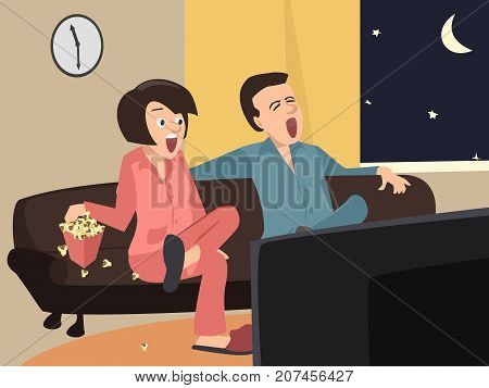 couple watching tv at home at night - funny cartoon vector illustration