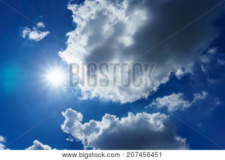 Blue Sky With Clouds And Sun For Background. Sun Light Shining Over The Clear Sky And Clouds. Beauti